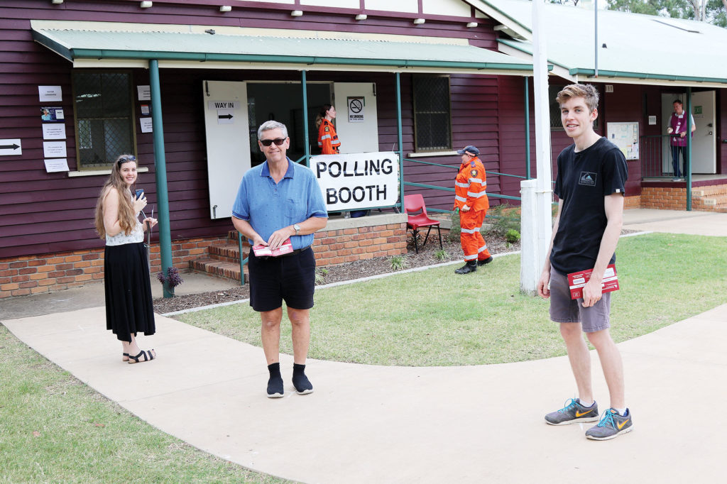 Observing Social Distancing at Tamborine Polling Booth