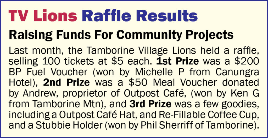 TV Lions Raffle Result - March