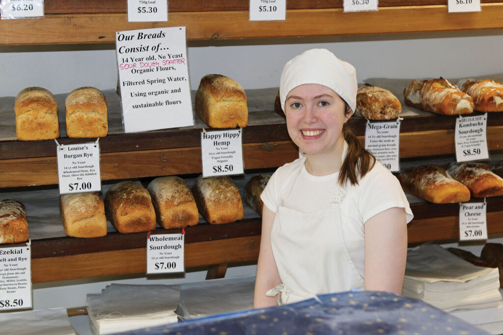 Charlotte Stubbs in the bakery shop