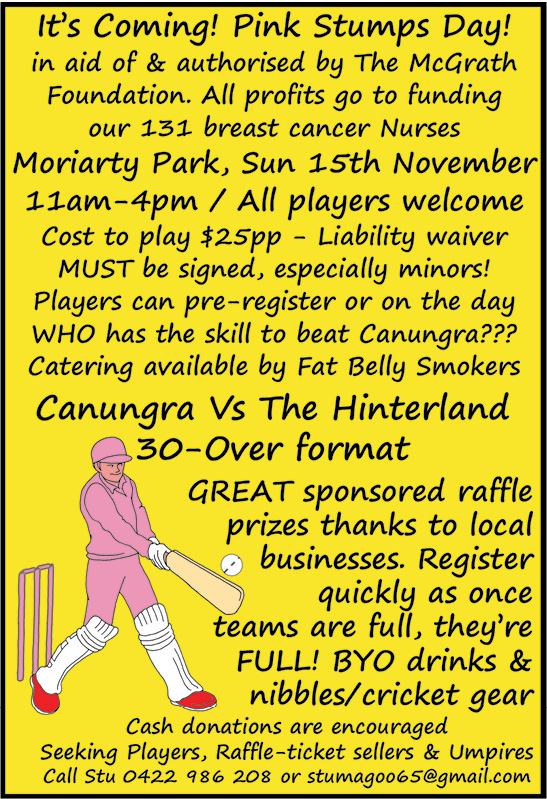Canungra Pink Stumps Day 15 November 2020