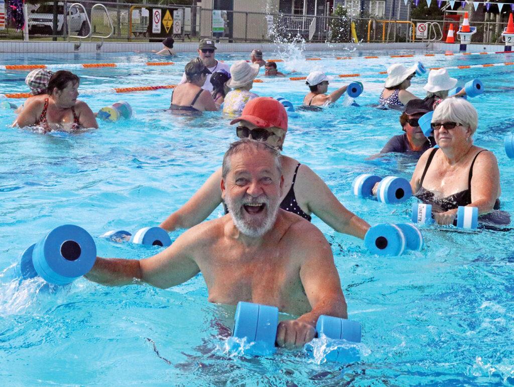 Enjoying an aqua aerobics  lesson in progress