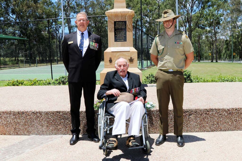 Cr Jeff McConnell & Captain Russell Burrell with 101 year old Harry Showell BEM