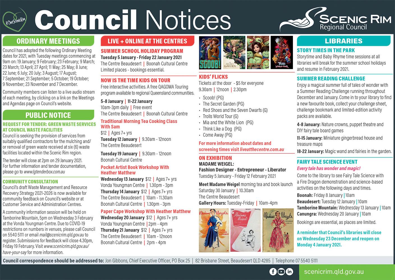 Scenic Rim Regional Council Notices