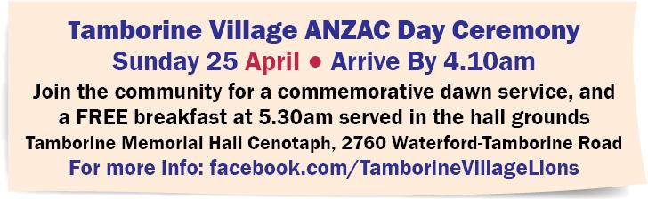Tamborine Village ANZAC Day Ceremony
