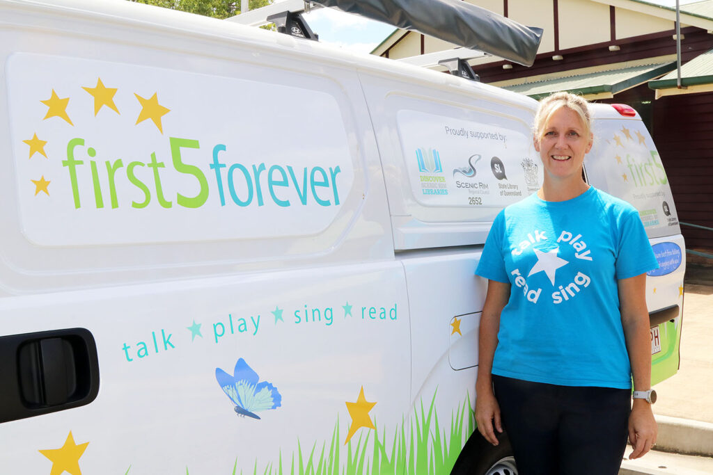 Heidi with First Five Forever Rhyme Time Van At The Hall