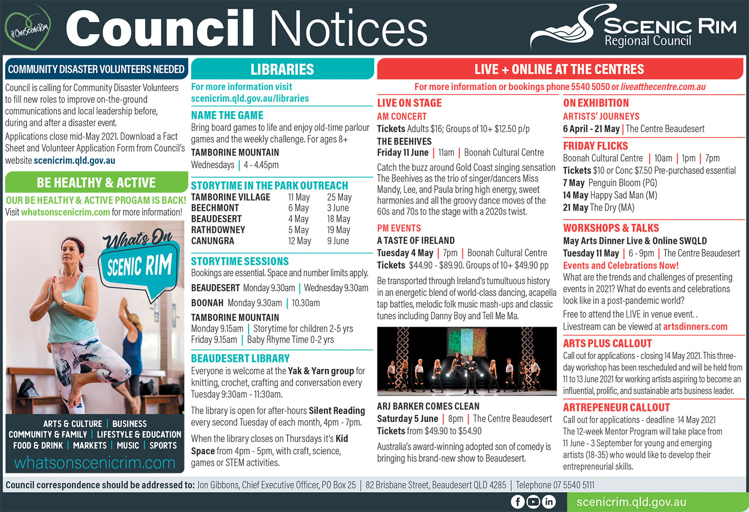 Scenic Rim Regional Council Notices For May 2021