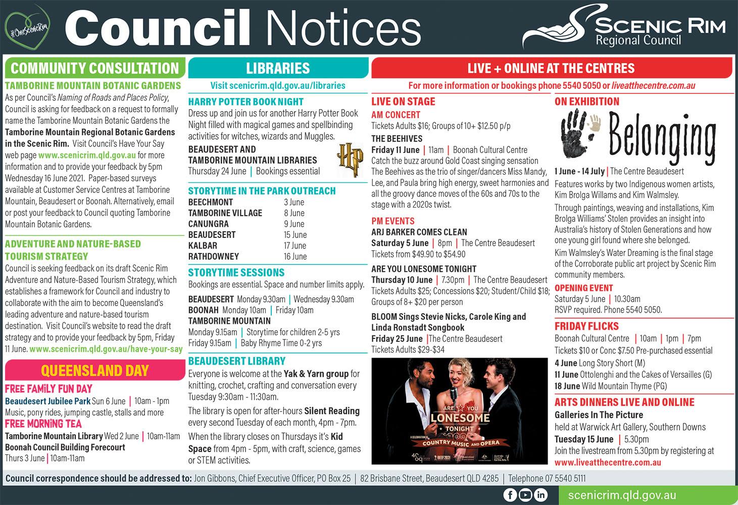 Scenic Rim Regional Council Notices - June 2021