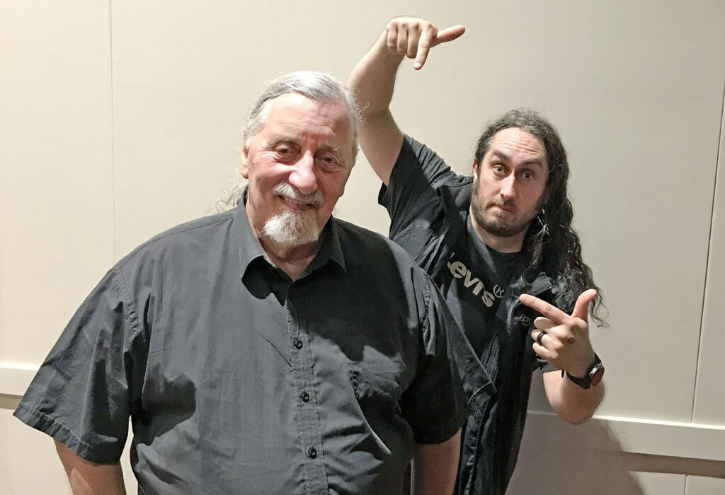 Comedian Ross Noble, with our local muso and trivia guy, John Beswick