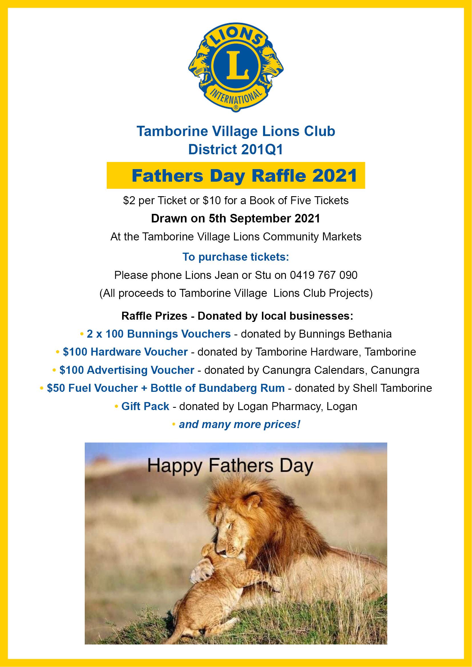 Tamborine Village Lions Fathers Day Raffle