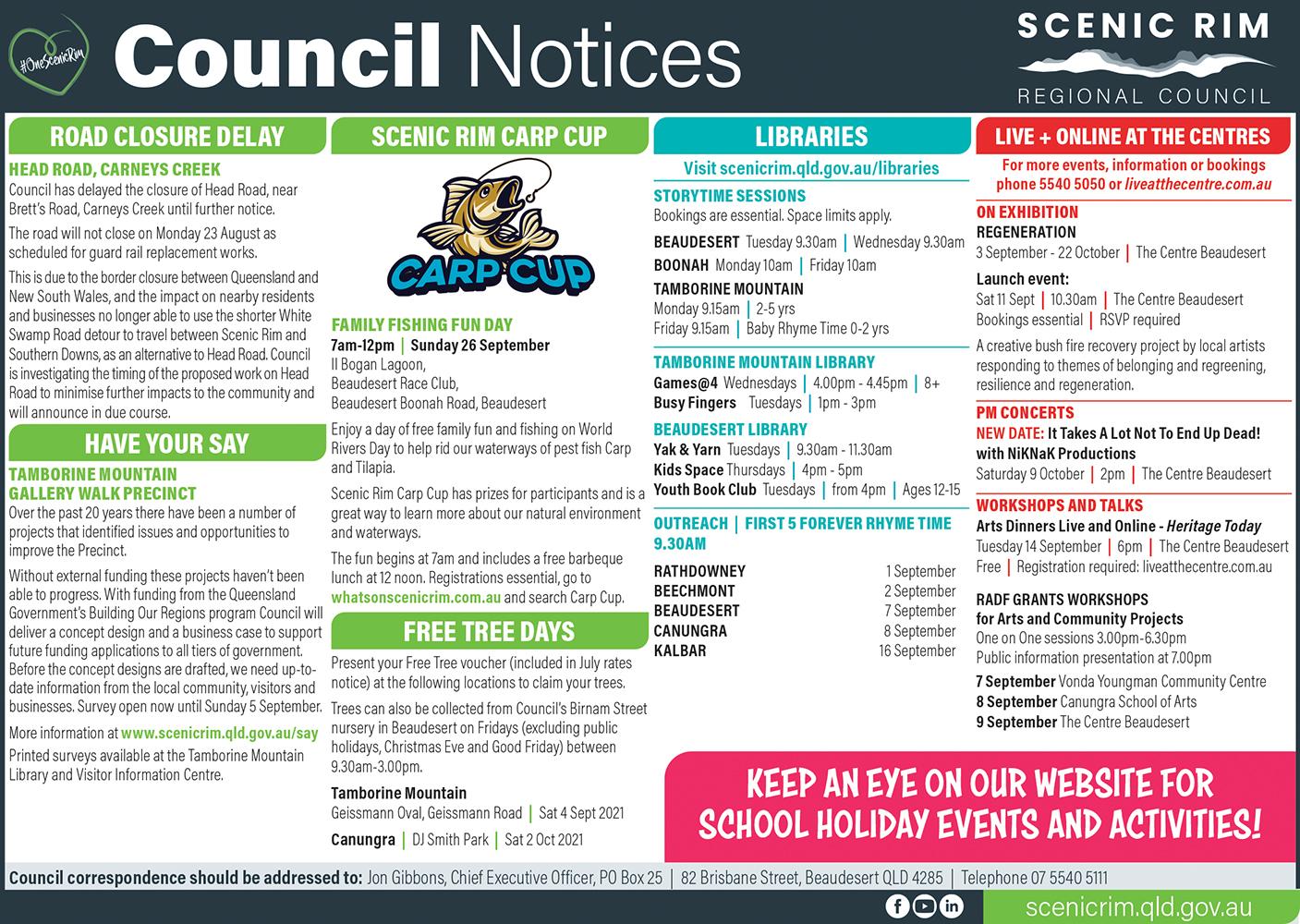 Scenic Rim Regional Council Notices - September 2021
