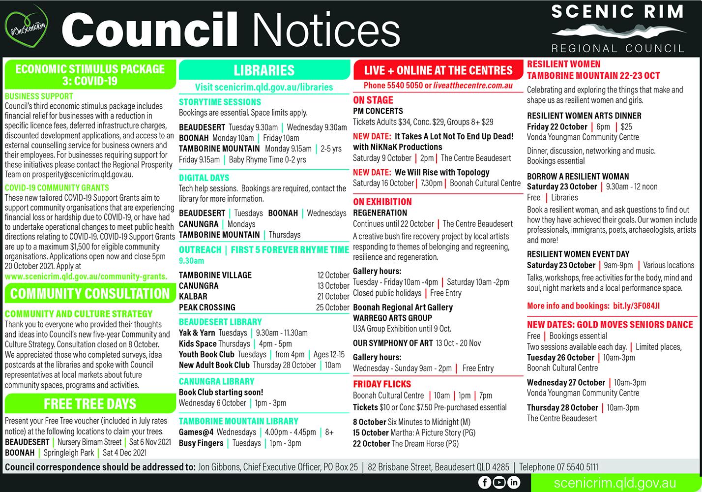 Scenic Rim Regional Council Notices - October 2021